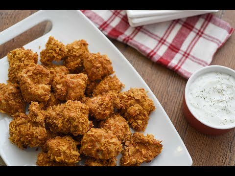 Oven-Fried Chicken Bites With Tangy Dill Dip Recipe