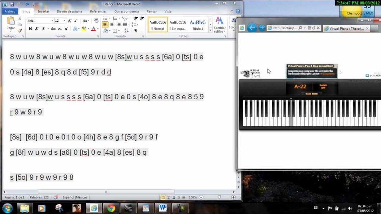 Titanic virtual piano - YouTube