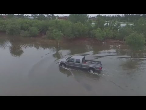 South Carolina floods: Drones capture footage