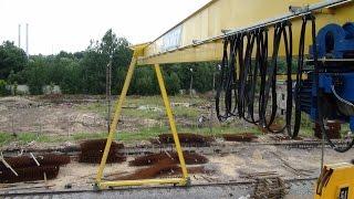 Козловой Кран 5 тонн(Вид с галереи обслуживания козлового крана: пролетная балка, тельфер и гак, кабель токоподвода, крепление..., 2014-05-19T11:32:19.000Z)