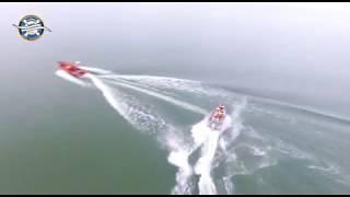 Reddingboten de Beer en de Zuiderzee vanuit de lucht