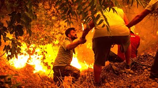 video: British firefighters 'almost surrounded' in desperate battle against Greek blazes