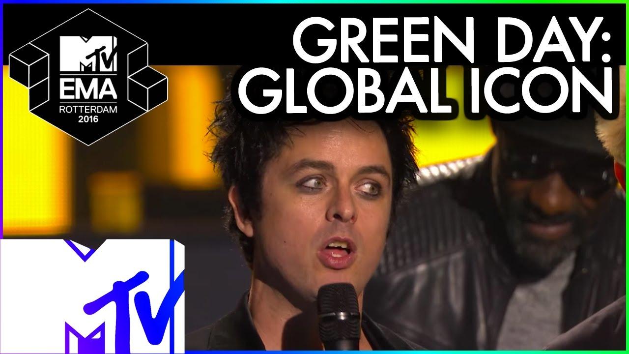 Green Day Accept Global Icon Award 2016 Mtv Ema Mtv Music Youtube