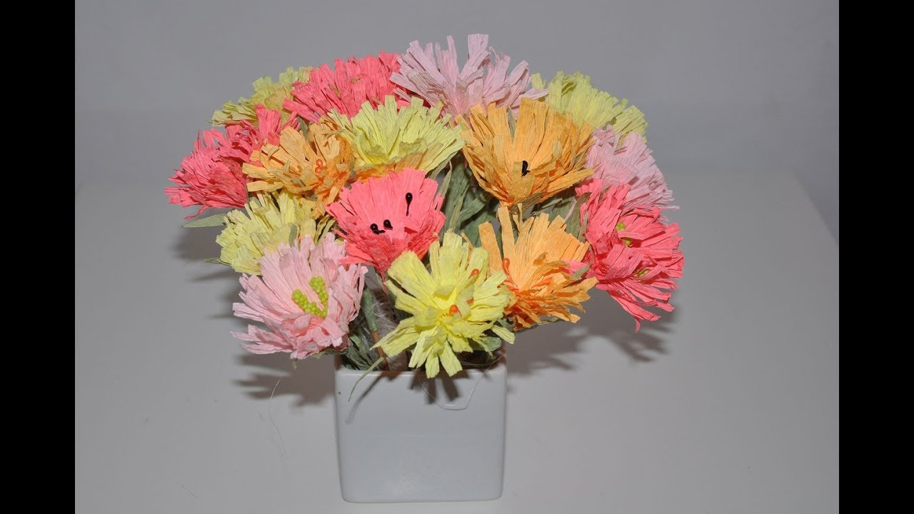 Kwiaty Z Bibuly Latwe Crepe Paper Flower Diy Youtube