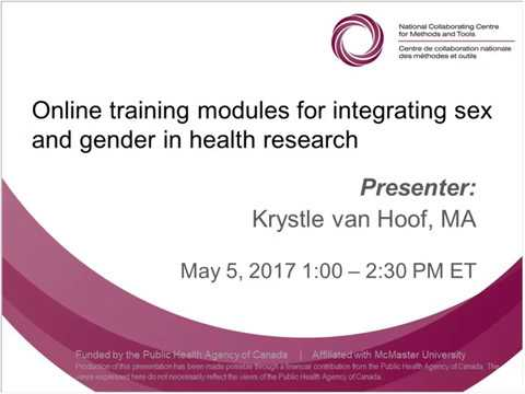 NCCMT Spotlight Webinar: Online Training Modules for Integrating Sex and Gender in Health Research