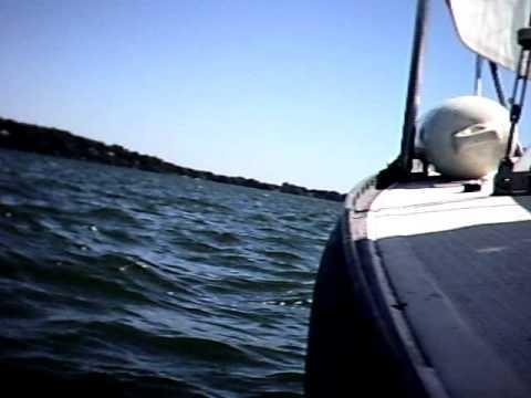 Waterproof Camera Mounted above side rail on Chrysler 22 Sailboat, Lake Mendota, Madison