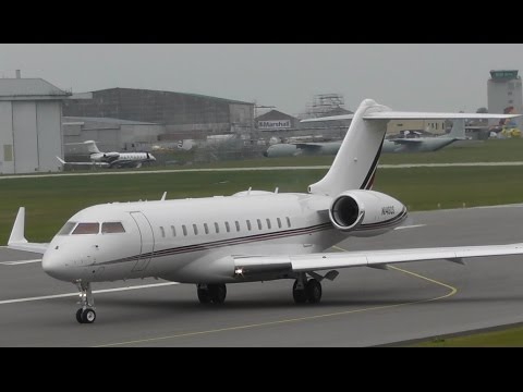 Global 6000 N148QS Taxi & Take Off at Cambridge Airport