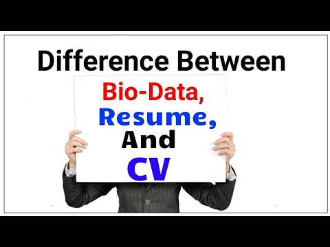 Difference between Bio-data,Resume and CV? - YouTube