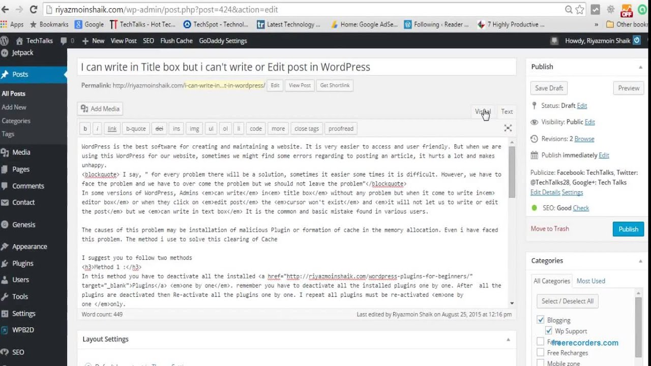 I can write in Title box but i can't write or Edit post in WordPress