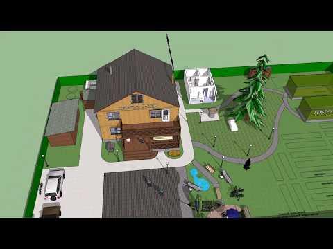 Проект дачного участка с домом Д-5600 #ростерн, #проекты #дома #брус #бревно #фундамент #проектдома