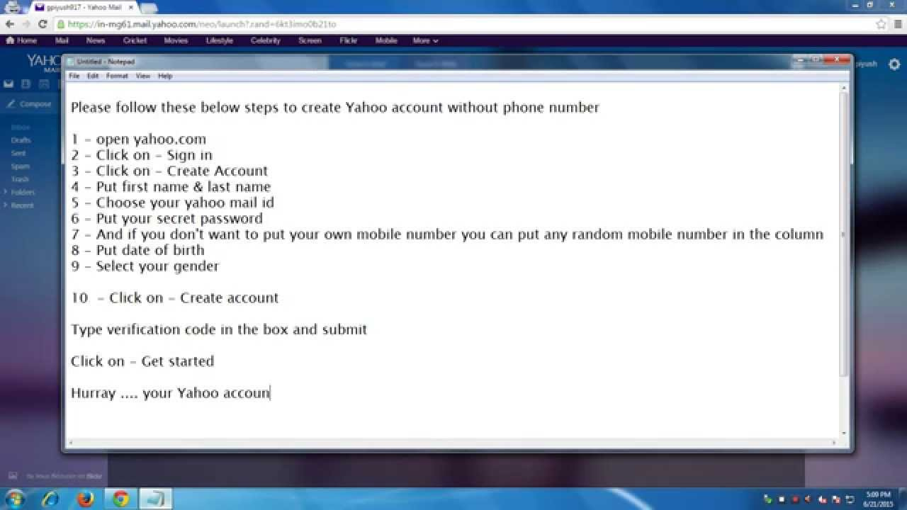 yahoo mail without cell phone number