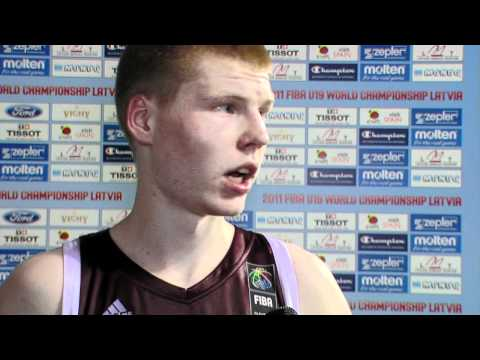FIBAU19 - Poland v Latvia post game interview Davis BERTANS