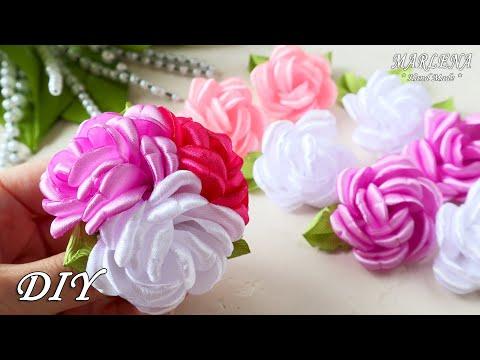 РОЗЫ из ЛЕНТ. Резиночки с цветами мастер-класс