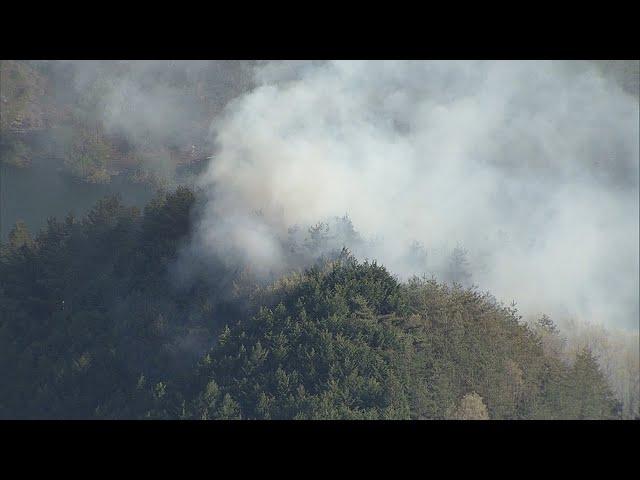 群馬県で山火事、24世帯に避難勧告 栃木県境近く