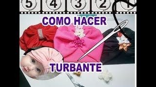 como hacer turbante para bebe (gorro)