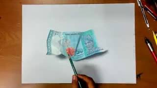 Anamorphic Art Fifty Ringgit Malaysia Note.