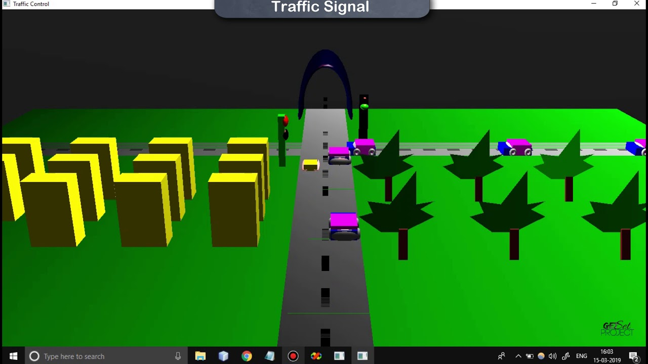 Traffic Signal Cg mini Project using OpenGL