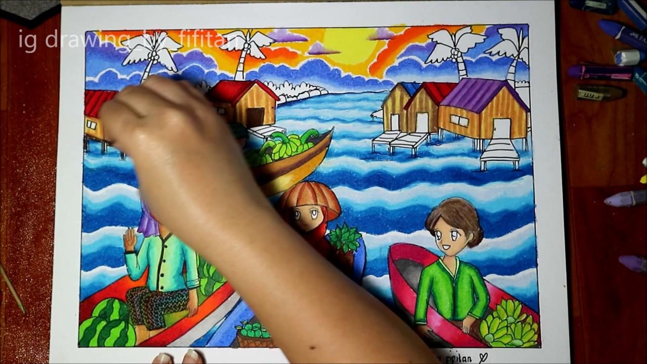 "Cara gradasi warna oil pastel tema "" Pasar Terapung"""