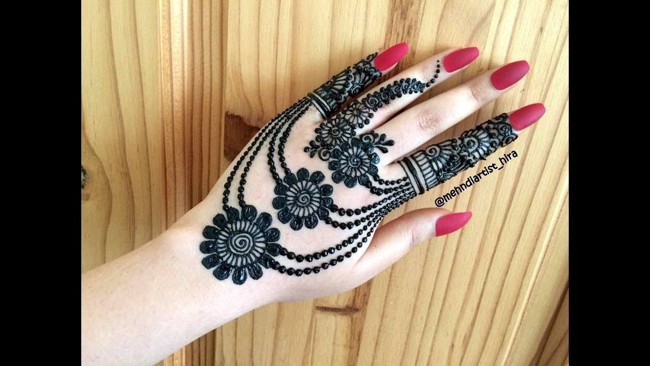 Beautiful Stylish Girly Henna Jewellery Simple Easy Party Mehndi Design For Hands For Eid 2018
