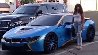 BMW I8 sitting on 24'' Forgee's. At the 2019 BILLBOARD MUSIC AWARDS Red Carpet and CARDI B/OFFSET