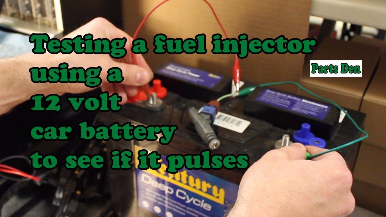 Petrol fuel injector test function pulse testing injectors using a 12 volt  car battery