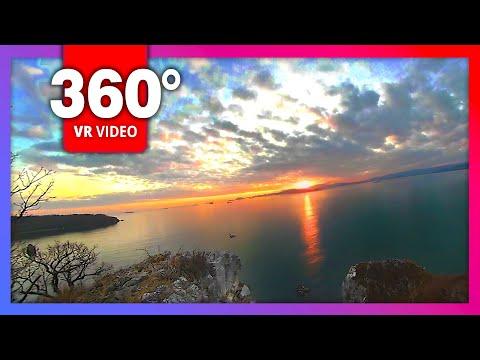 Шум моря, закат солнца, вид на море с горы (видео 360 градусов)