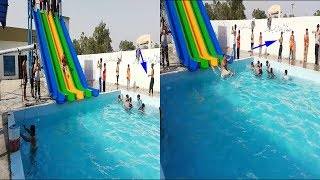 New funny video 2018   Heaviest man in Pakistan Punjab on waterslide in a swimming pool
