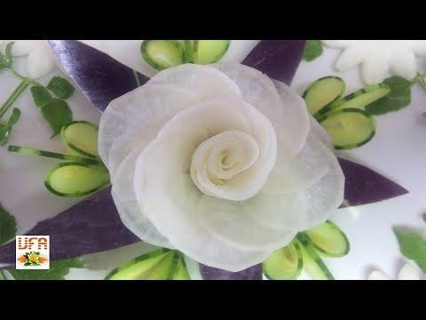 White Radish Rose Flower Sitting On Eggplant & Cucumber Carving Garnish | How To Make Radish Rose