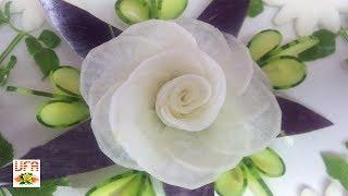 White Radish Rose Flower Sitting On Eggplant & Cucumber Carving Garnish!