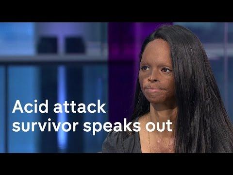 Acid attack survivor models on catwalk at London Fashion Week
