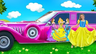 Sasha Decorated Limousine Car and Dressing up as a Princesses