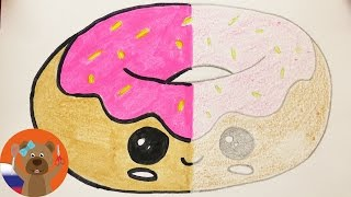 Пончик в стиле кавай | КАРАНДАШ vs. ФЛОМАСТЕР | Урок рисования