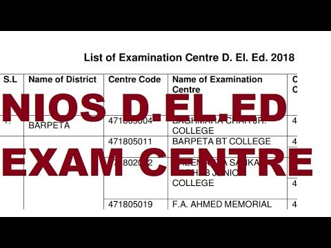 NIOS D.EL.ED Exam Centre List Latest News | Online Partner