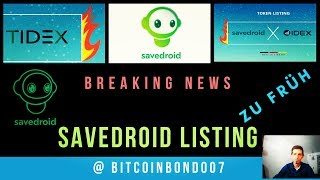 Savedroid SVD Token Listing NEWS Exchange Idex , Tidex , HitBTC and Bancor