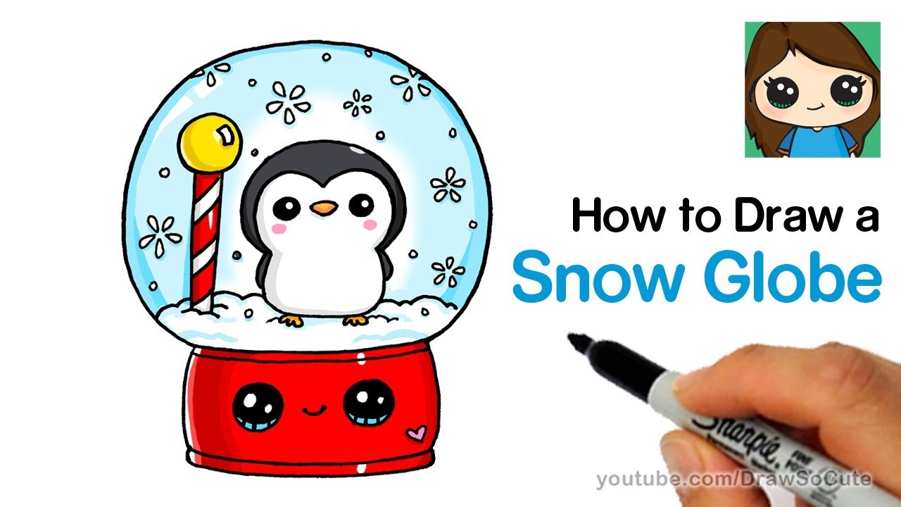 How to Draw a Snow Globe Easy with Cute Penguin - YouTube