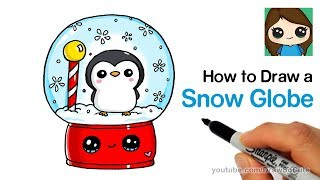 How to Draw a Snow Globe Easy with Cute Penguin