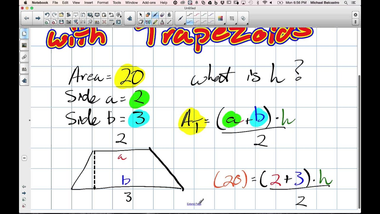 Solving For Height With Trapezoids Grade 7 Nelson Lesson 5 3 12 1 14  Geometry Area Of A Trapezoid Without