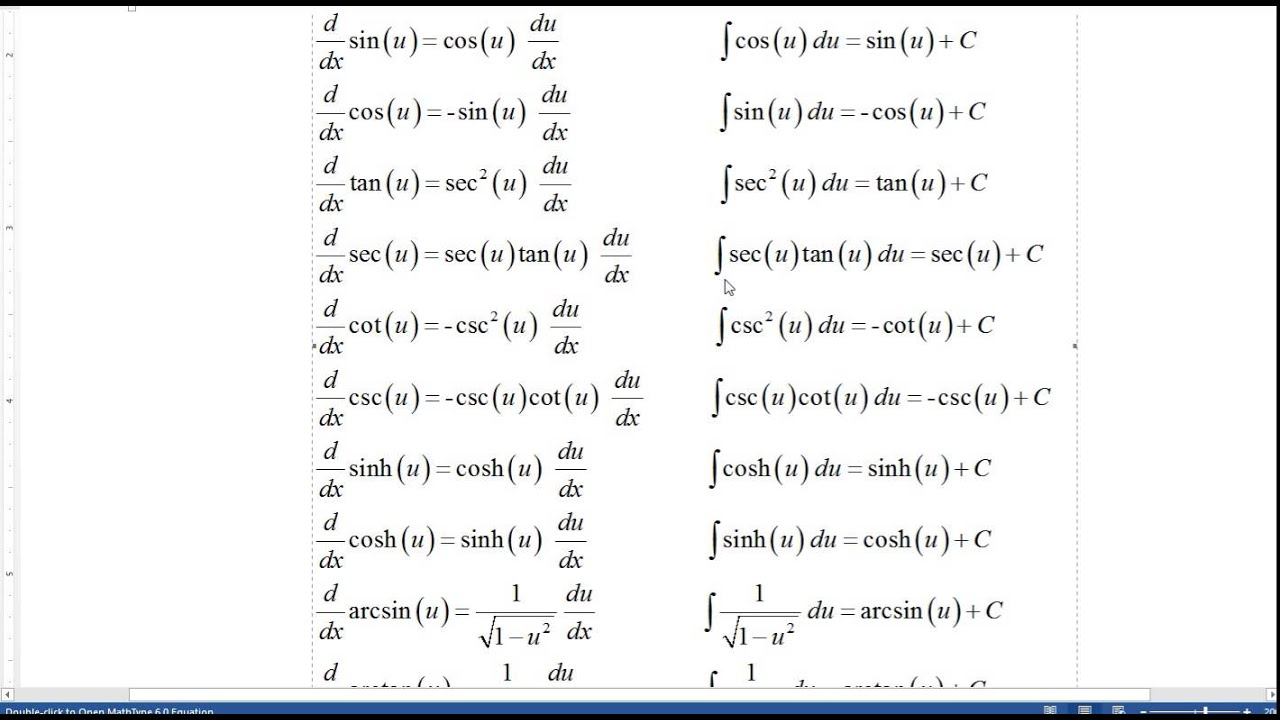 Calculus 6.10 Integration Formulas Including Trigonomety