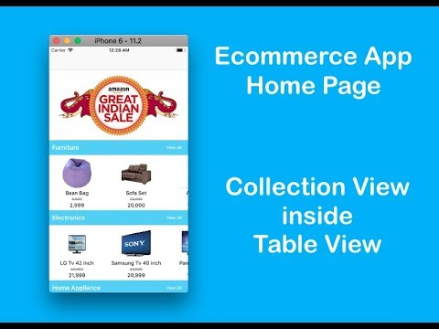 Lec 23 Ecommerce App Home Page : Collection View inside TableView |  Confiance Labs | Swift 4