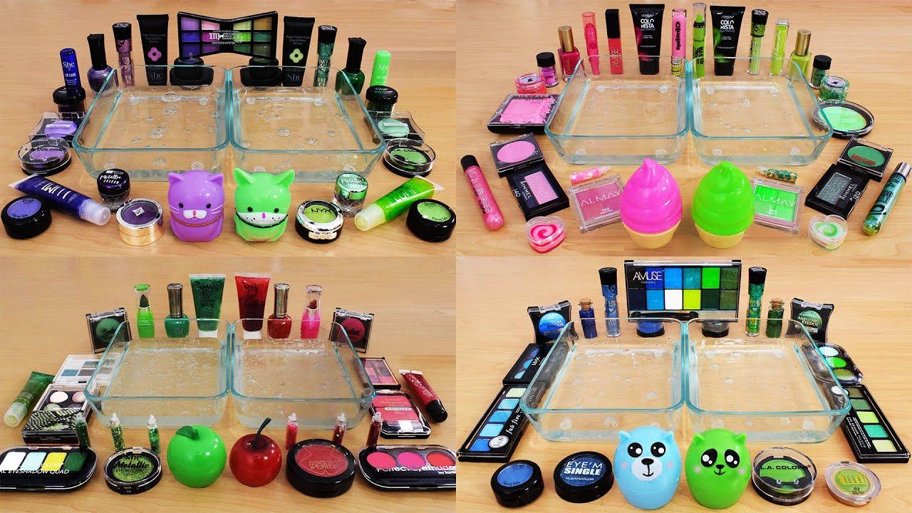 Green vs Compilation - Mixing Makeup Eyeshadow Into Slime ASMR #1