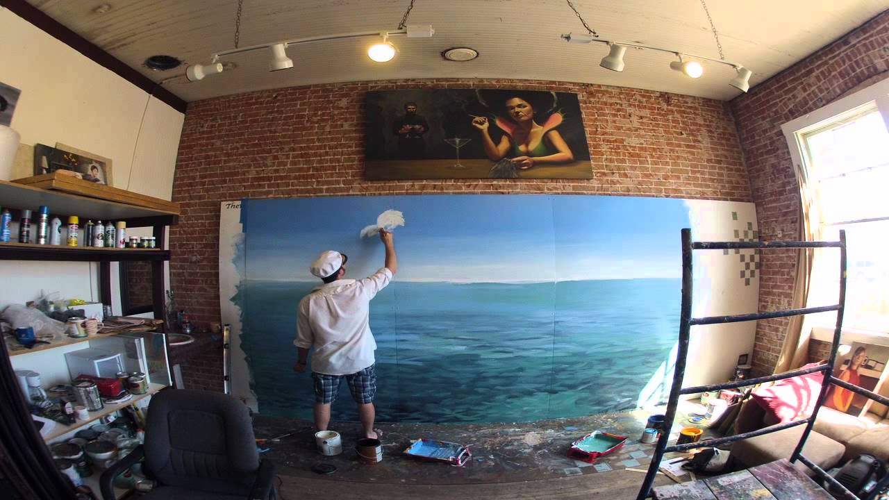 Learn To Paint An OCEAN PARADISE Mural With JOE PAGAC!   YouTube Part 90