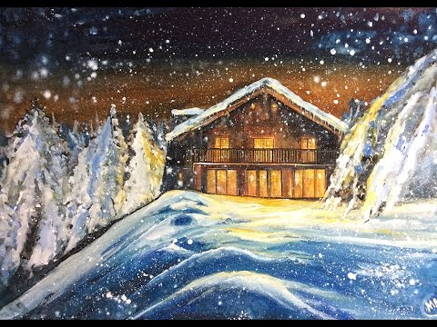 Watercolor And White Gouache Winter Cabin Painting Demonstration