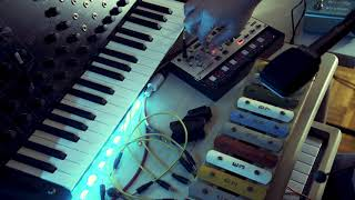 Ambient music with an old xylophone, tape echo and a sad volca modular