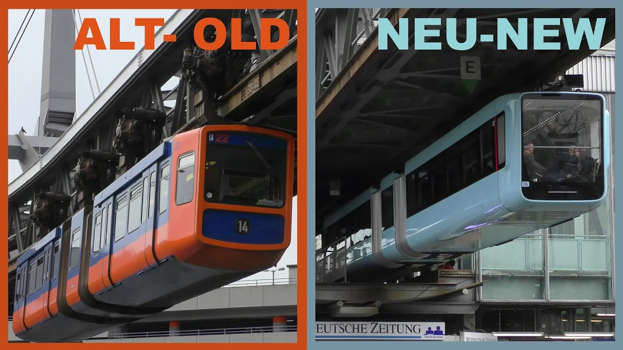 wuppertal schwebebahn wsw alt neu 2017 orange hellblau suspension railway old new. Black Bedroom Furniture Sets. Home Design Ideas