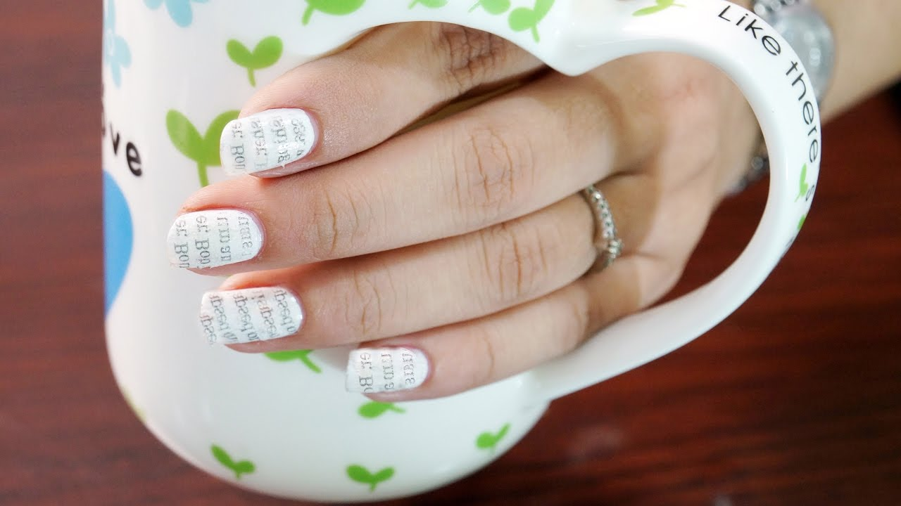 Newspaper Nail Art Step by Step with Water - Nail Art at Home - YouTube