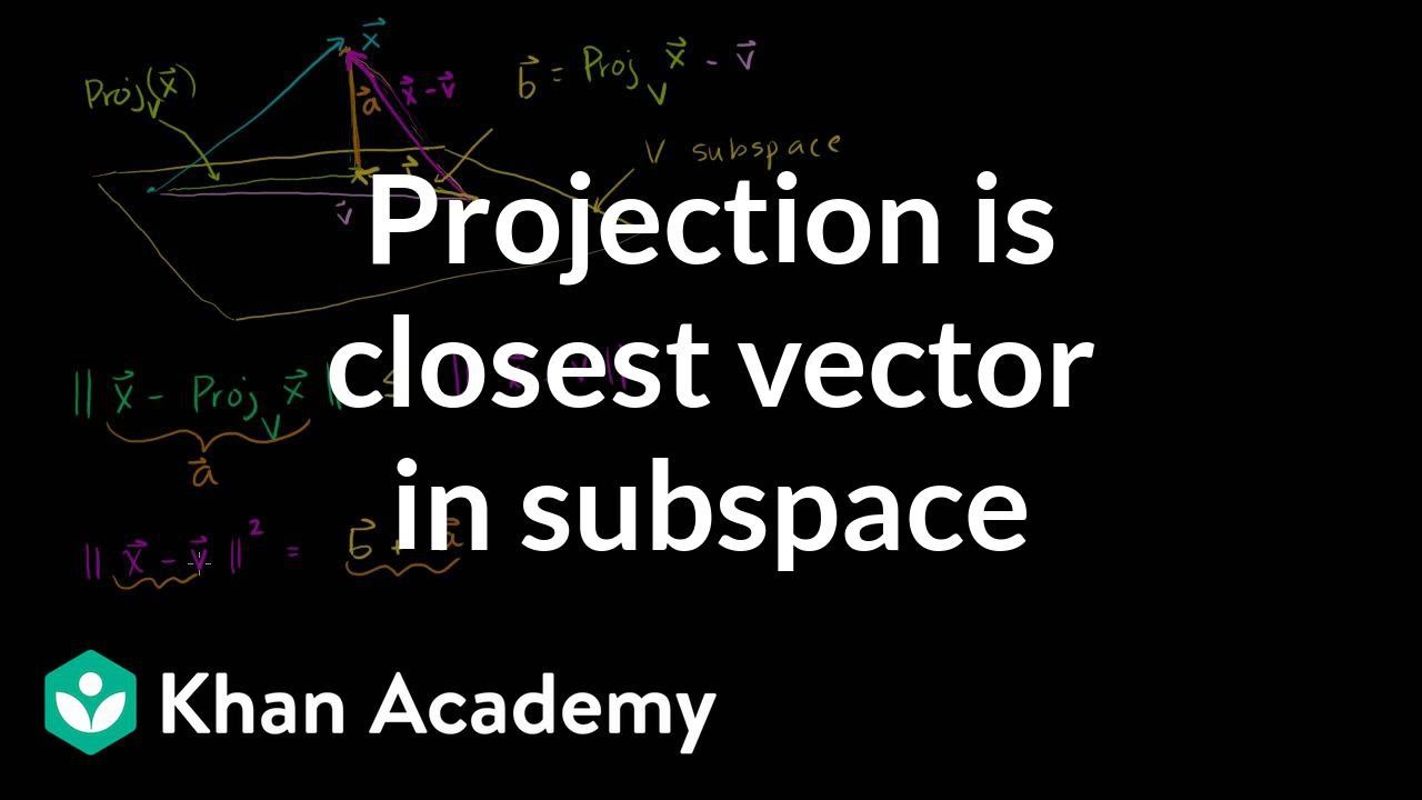 Projection is closest vector in subspace (video) | Khan Academy