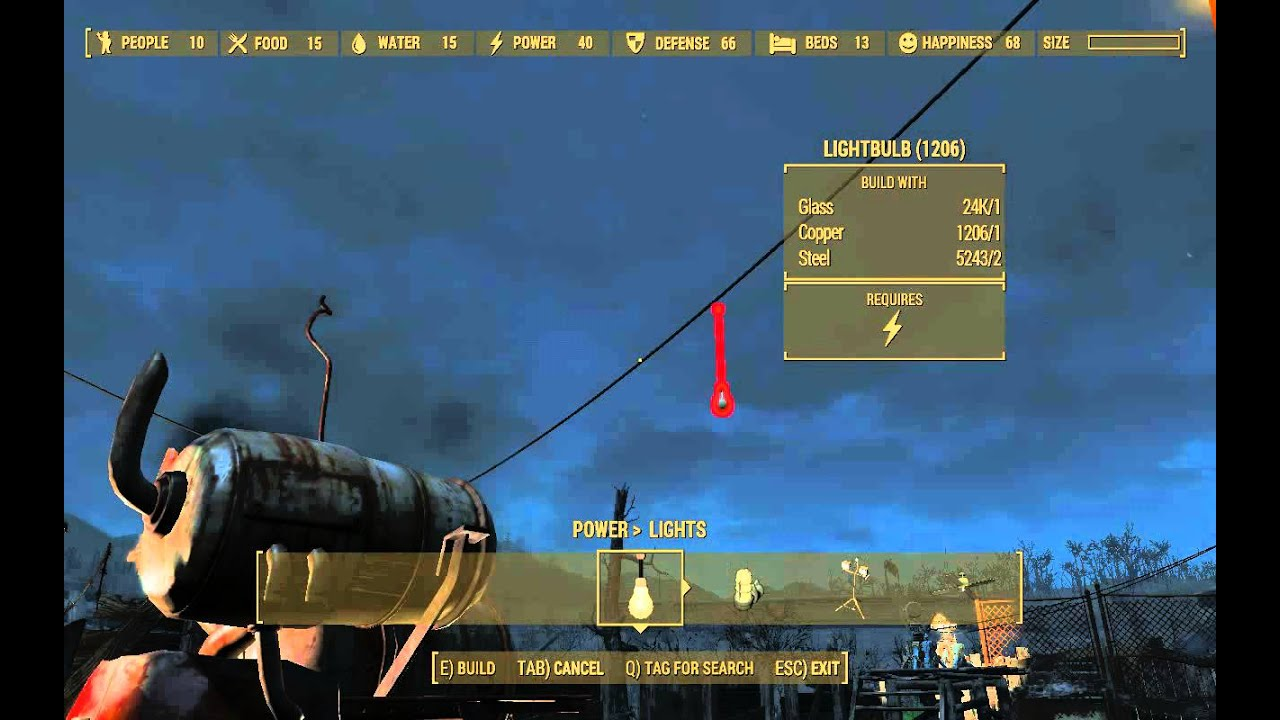 Placing light bulbs on power lines is a LIE - Fallout 4 - YouTube