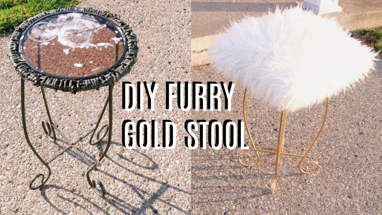 DIY FURRY GOLD VANITY STOOL - YouTube