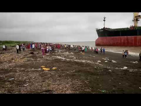 Ship grounded in valsad(gujarat).
