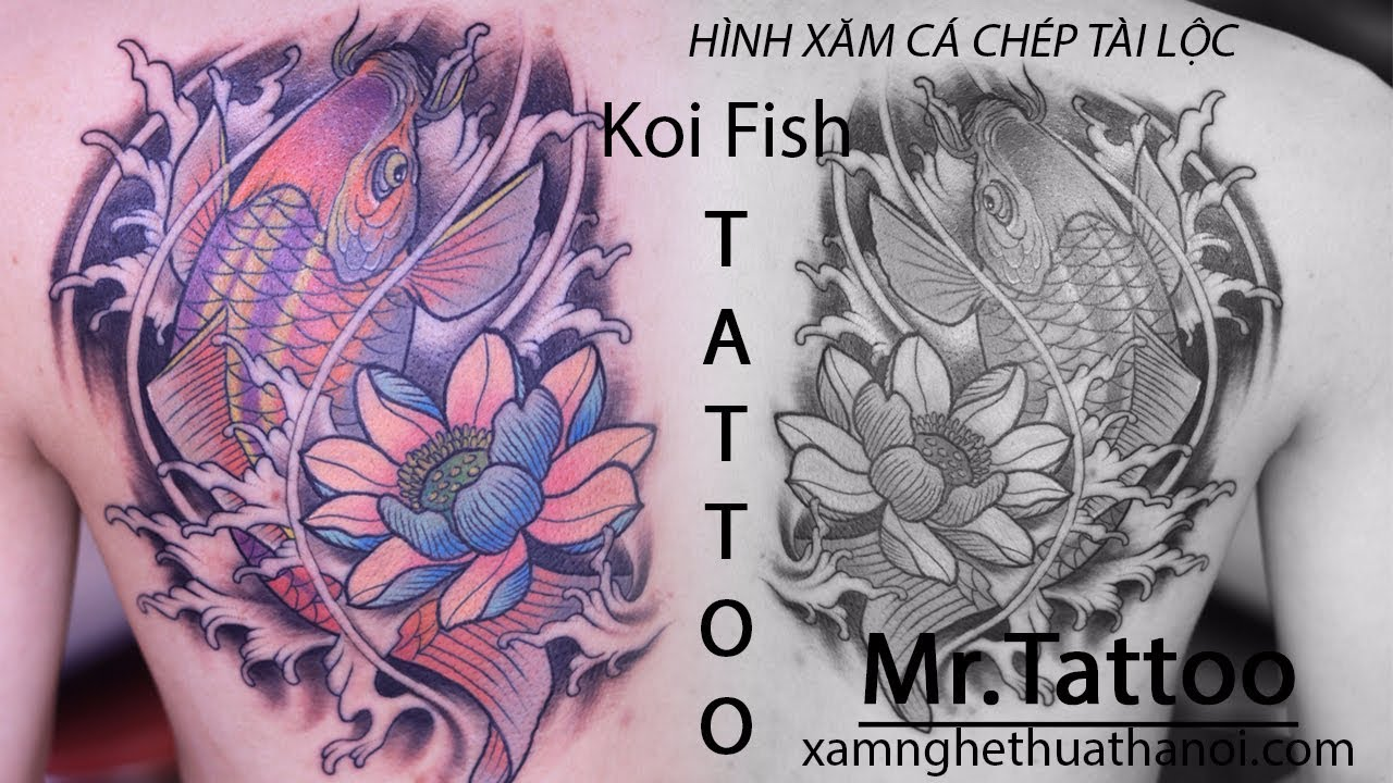 #2 Hình Xăm đẹp Cá Chép Hoa Sen tại Mr.Tattoo - Xăm Nghệ Thuật Hà Nội